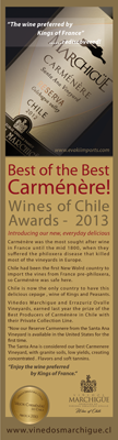 Marchigue Carménère - Wine Chile Awards 2013. Best of the Best Carménère
