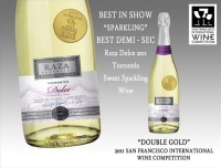 Torrontes Raza Dolce - Best in Show Double Gold winner - 2011 San Francisco International Wine Competition. 100% natural.